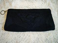 Vintage 1940s Black Corde Evening Bag Clutch Purse by BlackRain4