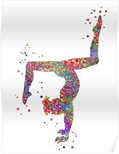 'Gymnastics girl, watercolor gymnastics, teen gift' Poster by Rosaliartbook Gymnastics Backgrounds, Gymnastics Wallpaper, Gymnastics Images, Dance Wallpaper, Gymnastics Party, Gymnastics Quotes, Gymnastics Posters, Gymnastics Videos, Gymnastics Gifts