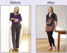 Minimize your Hips: A tucked-in top widens hips. Wear tunics to bring the eye below the hip line. Balance is key. www.monroeandmain.com