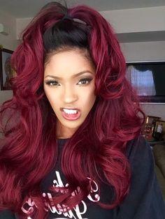 Burgundy Hair Color: Best Ideas of Maroon Hair (Trending in August burgundy red hair - Red Hair Weave Hairstyles, Pretty Hairstyles, Black Hairstyles, Celebrity Hairstyles, Hairstyles 2016, Feathered Hairstyles, 2017 Hairstyle, Relaxed Hairstyles, Bouffant Hairstyles