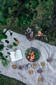 Food photography / picnic / granola / peaches / summer