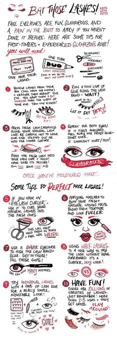 Want to start wearing false eyelashes more often? Here are 18 hacks, tips and tricks on how to apply false eyelashes easily and quickly. Tips And Tricks, Makeup Tips For Beginners, Beginner Makeup, Make Up Tools, Applying False Eyelashes, Fake Lashes, Silk Lashes, False Eyelashes Tips, Skin Makeup