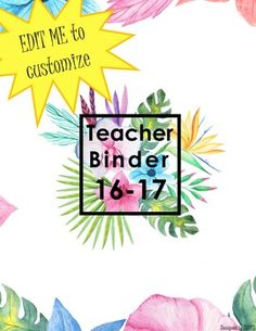 If this can get 20 pins today, then I'll put it on off tomorrow! Get organized with my favourite teacher binder covers so far! Tropical and watercolour :) Teacher Binder Organization, Teacher Binder Covers, Sub Binder, My Favourite Teacher, Student Data, The Duff, My Teacher, Getting Organized, Watercolour