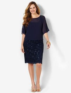 Beautiful dress creates the illusion of a sheer top and lace skirt combo. Flattering, all-in-one piece is stitched underneath the blouson top to connect it to the sequin skirt below. Features colorful beadwork at the shoulders and dolman sleeves with slits at the upper arms. Catherines dresses are expertly designed for the plus size woman. catherines.com