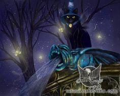 Gargoyle Ash Evans fantasy black cat art print by AshEvans on Etsy, $15.00