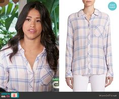 Jane's peach plaid shirt on Jane the Virgin. Outfit Details: http://wornontv.net/53027/ #JanetheVirgin