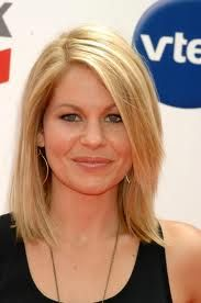 Shoulder length, straight blonde hair ( Candace Cameron )