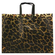 """Leopard Frosty bag...Go wild with our leopard-patterned translucent bag! From our Leopard Collection, this 16"""" x 6"""" x 13"""" tote bag features 4 mil. gauge construction, soft loop tri-fold handles, and bottom boards for extra durability. Ideal for drawing extra attention to zoos, charitable animal foundations, and retailers with a creative flair. Customize with your company name and logo, then send this eye-catching piece on the prowl for new customers!"""