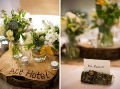 Love the floral arrangements on wooden boards and the place card holders ~ colors, green, natural/organic composition