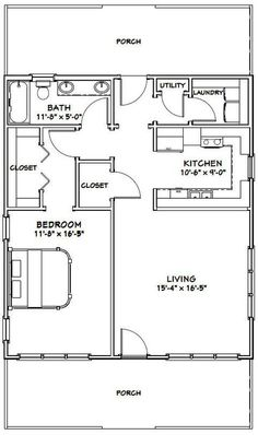 My Shed Plans - House -- -- 895 sq ft - Excellent Floor Plans - Now You Can Build ANY Shed In A Weekend Even If You've Zero Woodworking Experience! Small House Floor Plans, Cabin Floor Plans, Garage Plans, Shed Plans, Cottage Plan, Cottage House, Apartment Plans, Tiny House Living, Living Room