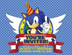 Sonic the Hedgehog Birthday Invitation (front)