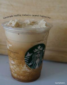 Homemade Healthy Starbucks Caramel Frappuccino #homemade #starbucks #healthy #drink #DIY #frappuccino #coffee #delicious