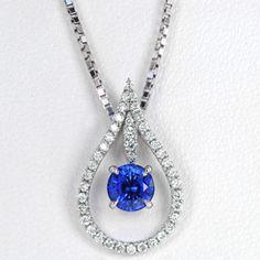 18k White Gold Diamond and Sapphire Rain Drop Pendant  Knox Jewelers