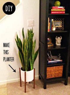 beautiful house plant stand. I want a snake plant  The Twisted Horn DIY Modernica Case Study Planter 15 Beautiful House Plants That Can Actually Purify Your Home