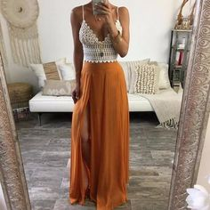 **Currently filling our inventory. Email help@trendyquest.com for details.** Sexy, long, chiffon maxi skirt, perfect for breezy days and summer fun. (Top Sold Separately). Not sure what size? Use our sizing chart! Not sure how to measure yourself? Watch this video! **Free insured shipping** *Please allow 3-4 weeks for arrival. *International orders may have a 2-3 week variance. See our customers & influencers wearing Trendy Quest products on Instagram! #trendyquest Got a Question?...