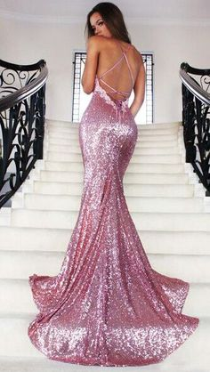 Sequins Prom Dress, Rose Gold Sequin Prom Dress,Mermaid