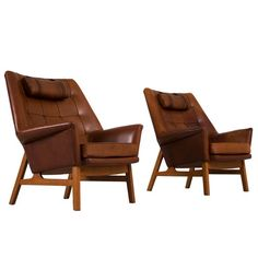 Pair of Patinated Leather Lounge Chairs by Tove & Edvard Kindt Larsen | From a unique collection of antique and modern club chairs at https://www.1stdibs.com/furniture/seating/club-chairs/
