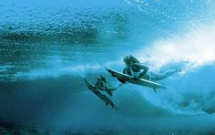 mom and daughter surfing ! How cool is that ?