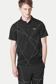 Lacoste Short Sleeve Super Dry Polo With All Over Geometric Print -  88.00  Polo Dos Homens e40c6ccc9a3d7