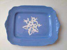 "Harker Pottery Cameoware Cameo Ware Blue Dainty Flower Platter Tray 10""  #HarkerPottery"