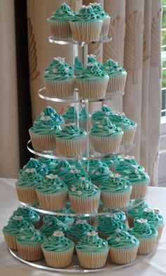 Tiffany blue cupcakes - saves $ rather than doing cake for everyone!