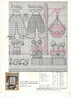 Schema punto croce Country Bloomers 04