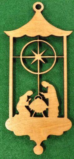 Wood Nativity Manger Scene Ornament via etsy $3.75