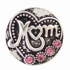 KB6940  Antiqued Silver Heart Mom Snap Accented with Pink Rhinestones