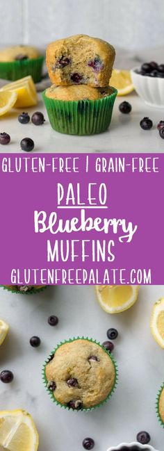 Paleo Blueberry Muffins that are simple to make, tender, and healthy. They are perfect for a grab-and-go breakfast, or post-workout snack. Gluten Free Quick Bread, Gluten Free Recipes For Breakfast, Gluten Free Breakfasts, Paleo Breakfast, Gluten Free Baking, Brunch Recipes, Paleo Recipes, Muffin Recipes, Fodmap Breakfast