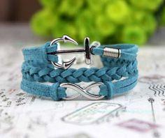 Infinity bracelet lake blue anchor the karma bracelet by Carlydiy, $4.99