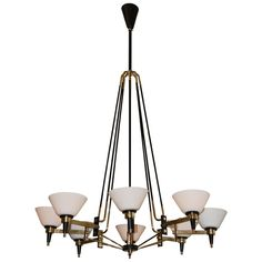 Eight Light Italian Mid-Century Chandelier attributed to Stilnovo; 1stdibs