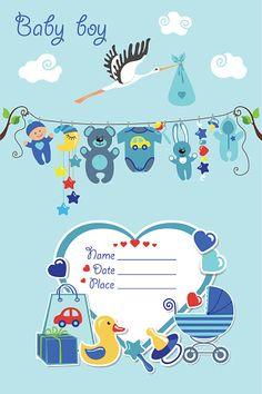 New born baby boy card shower invitation - Illustration vectorielle
