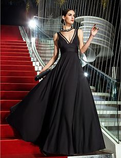 A-line V-neck Floor-length Jersey Evening Dress - USD $ 99.99