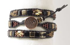TRIPLE WRAP LEATHER Bracelet-SuperDuos-Bronze-Black-Ivory Picasso-Czech Tiles-Boho Leather Bracelet-Rustic-Chic-Copper Tree of Life Button by CinfulBeadCreations on Etsy