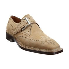 03806e50121 Suede wingtip monk with brogue details throughout and brushed pewter-tone  buckle. Norvegese constructed welt, stacked heel and leather sole.