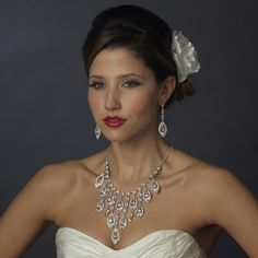 Ornate Silver Teardrop Necklace Earring Set. Kim's Bridal, Keywords:  #michiganeventrentals #michiganbridalshop #weddingrentals #weddingaccessories #kimsbridal Follow Us: http://www.kimsgiftbaskets.com/ ... https://www.facebook.com/KimsGifts