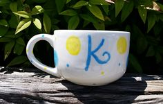 Personalized coffee mug. Duncan Bisque Latte Mug painted with Duncan Concepts and Pure Brilliance.
