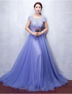 Formal Evening Dress A-line Scoop Sweep / Brush Train Tulle / Stretch Satin with…
