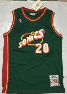 4a24ae9c5abf Seattle Supersonics Gary Payton Green Sewn Vintage Basketball Jersey  20   SeattleSupersonics