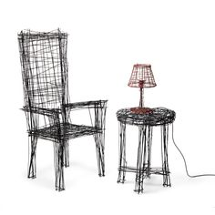 South Korean designer Jinil Park has created a range of furniture from intersecting wires that has the appearance of two-dimensional sketches.