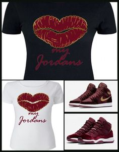 16134eec478 Details about LADIES   WOMENS TEE SHIRT to match the NIKE JORDAN 1   11  HEIRESS MAROON VELVETS