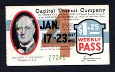 1937 Pres. Roosevelt Inaugural Capital Transit Co. Weekly Pass.