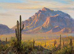 Picacho Peak Sunset by James McGrew 6 x 8 oil