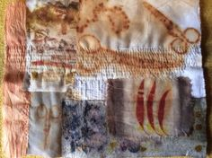 Work in progress! Natural dyeing and rusting + hand stitching. By Ann Stephens