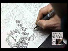 桂正和先生『ZETMAN』作画映像を限定オンエア!(1/2)    Masakazu Katsura drawing his work, ZETMAN!