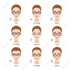 Set of various types of glasses. Scheme of comparison of face shapes to glasses frames. Glasses For Oval Faces, Glasses For Your Face Shape, Pear Shaped Face, Best Eyeglasses, Eyeglasses For Women Round Face, Oval Face Shapes, Types Of Faces Shapes, Fashion Eye Glasses, Mode Style