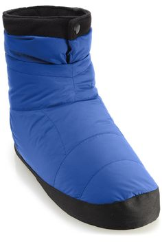 """""""REI Down-Filled Camp Booties""""; great for wear inside your sleeping bag, and sturdy enough for wear briefly around camp. Available in three colors ($35 at REI)"""