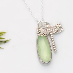 Light Green Chalcedony bezel Necklace