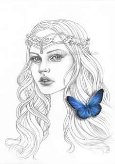 Original drawing, blue wall decor: fantasy Celtic girl portrait with realistic blue butterfly painted on her hair. Original illustration!