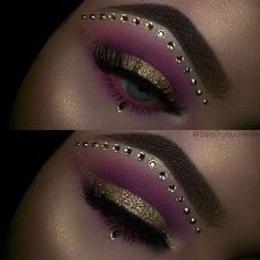 Gold and pink eye makeup look with sequins
